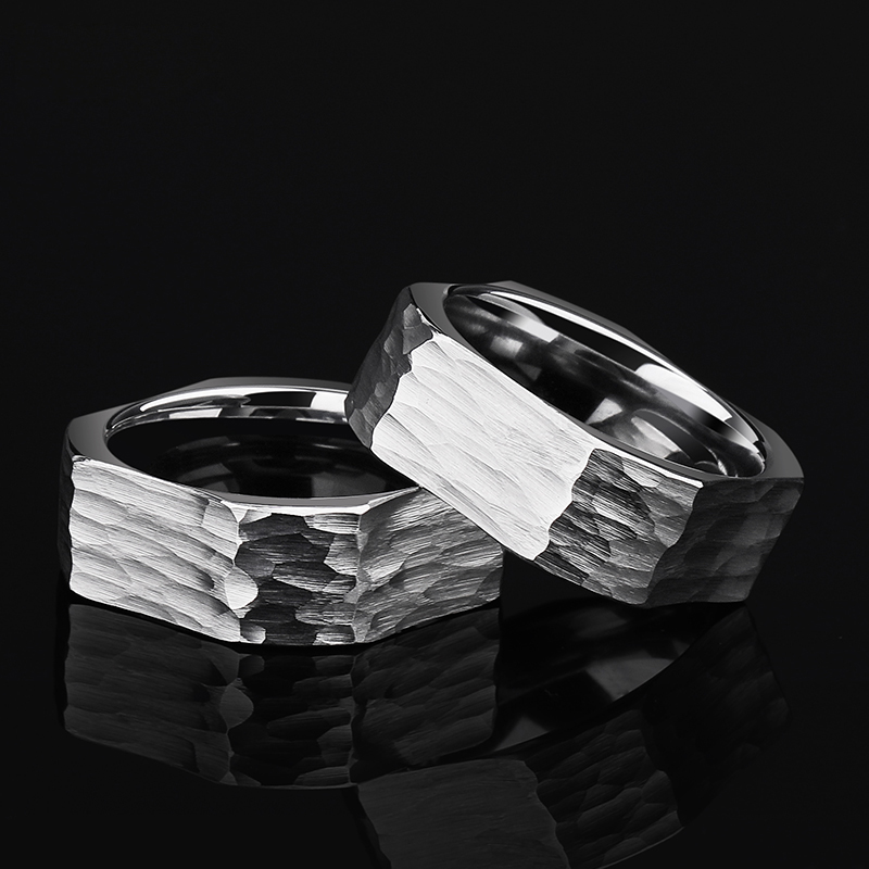 New Arrival Punk Style 8mm Width Tungsten Carbide Rings for Man Square Outside Round Inside Comfort Fit Band Size 7.5-11.5