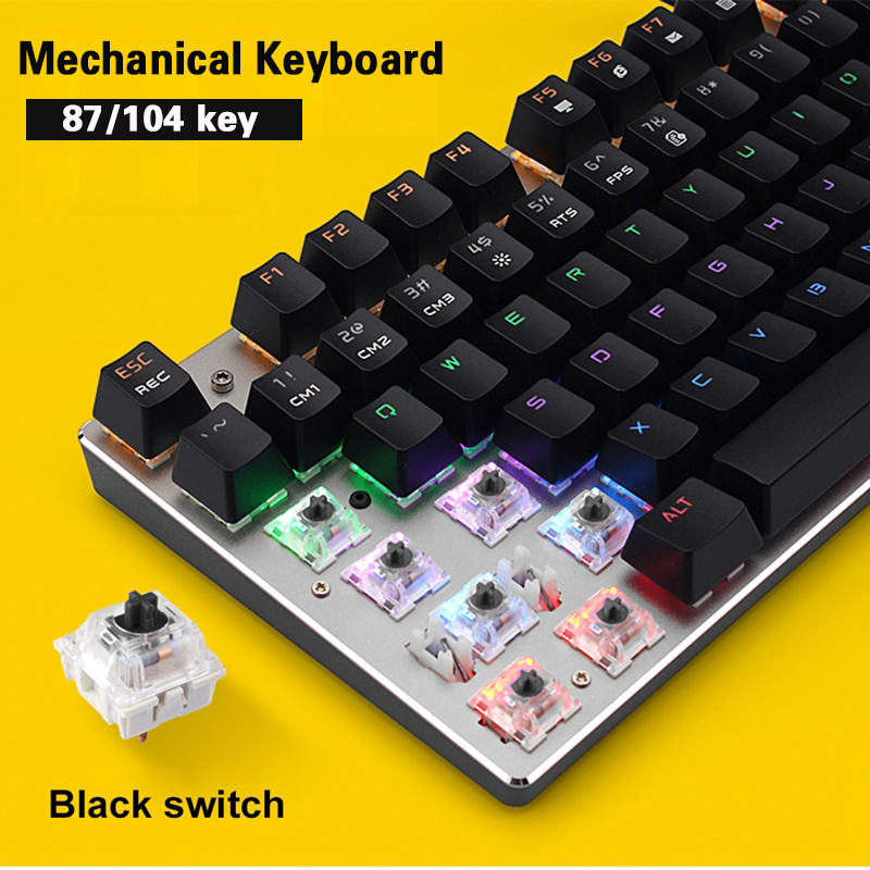 Axis Body : Blue Switch , Color : Russian 87 key keyboard Gaming keyboard Mechanical keyboard 87//104 luminous blue-black anti-ghosting wired gaming keyboard backlight switch Russian English