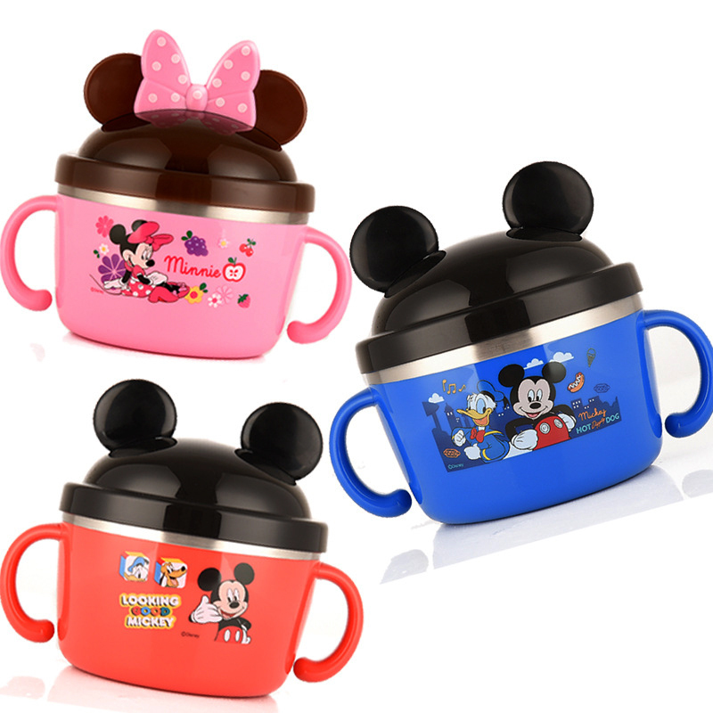 Disney Children's Tableware Stainless Steel Lunch Box Baby's bowl Cute Students Creative Lunch Bowl with Double Handles