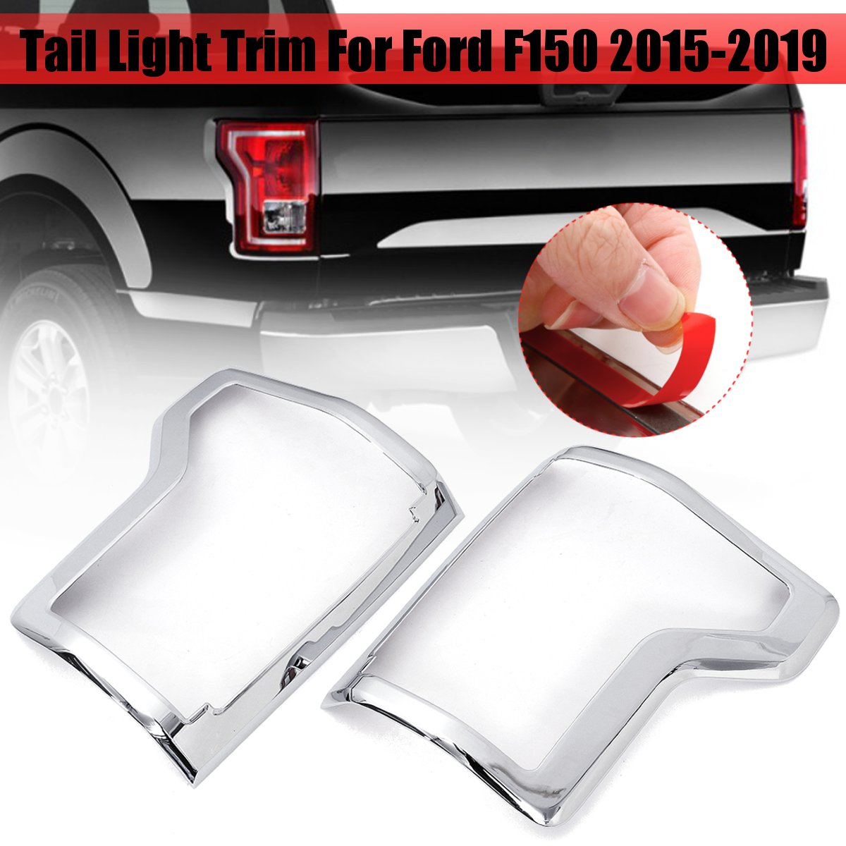 Car Exterior Accessories Pair ABS Chrome Rear Tail Light Lamp Frame Cover Trims For Ford F150 2015 2016 2017 2018 2019  Car Exterior Accessories Pair ABS Chrome Rear Tail Light Lamp Frame Cover Trims For Ford F150 2015 2016 2017 2018 2019