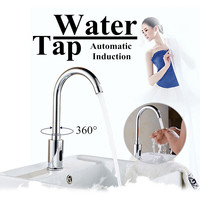 Automatic Sensor Water Tap Single Cold 360Degree Swivel Faucet Basin Sink Mount Bathroom Fully automatic Convent Chrome polished