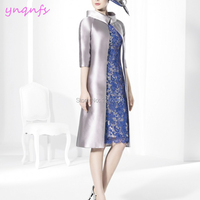 YNQNFS M192 Sheath Satin Dress for Wedding Party 2 Piece Silver Royal Blue Mother of the Bride Dresses Jacket Outfits 2019