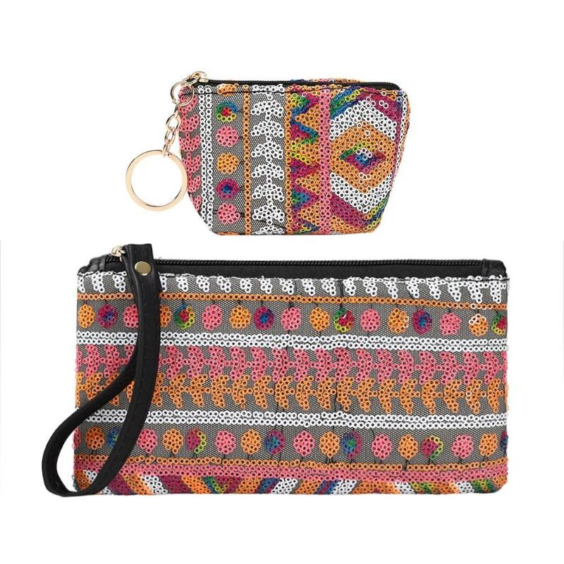Girls Small Casual Simple Boho Printing Coin Purse Women Mini Wallet Card Holder Female PU Leather Weaving Clutch Bag