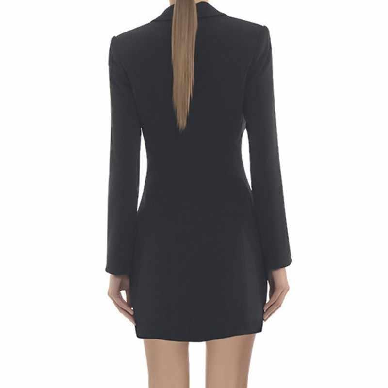 CHICEVER осень блейзер платье для женщин V образным вырезом с длинным рукавом Высокая талия тонкий черный Bodycon платья Женская мода элегантная одежда