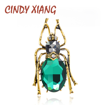 CINDY XIANG 2 Colors Choose Glass Big Bugs Brooches for Women Vintage Style Cool Beetle Brooch Fashion Jewelry New Arrival 2018