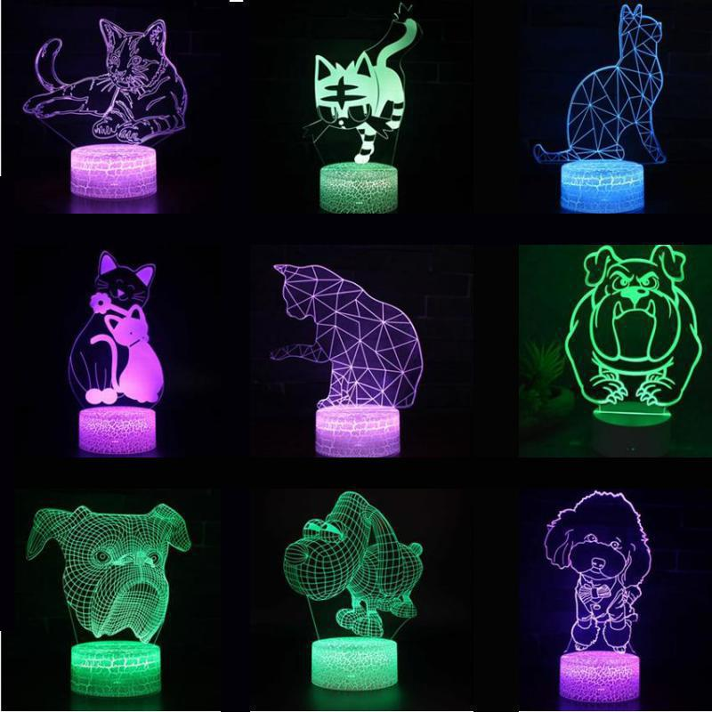 Cat 3D Lights Christmas Decorative Lights Children's Room Decoration Dog 3D Nightlight Lovely Cartoon Children's Toys Led Lamp
