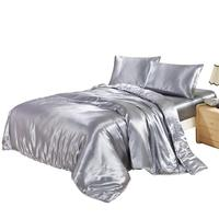 Silver Ice Silk Bed Sheets Duvet Cover Fitted Sheet Pure Color Bedding Article Sets High Quality Quick Delivery