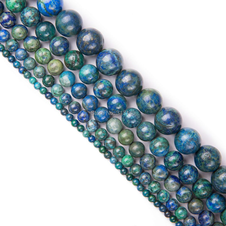 """6//8//10mm Faceted Azurite Chrysocolla Gemstones Round Loose Beads 15/"""" Strand"""