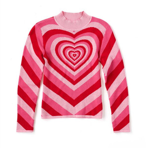 Image 5 - Harajuku Pink Sweet Heart Half Turtleneck Sweater Long Sleeve Love Knitting Women 2019 Pullovers