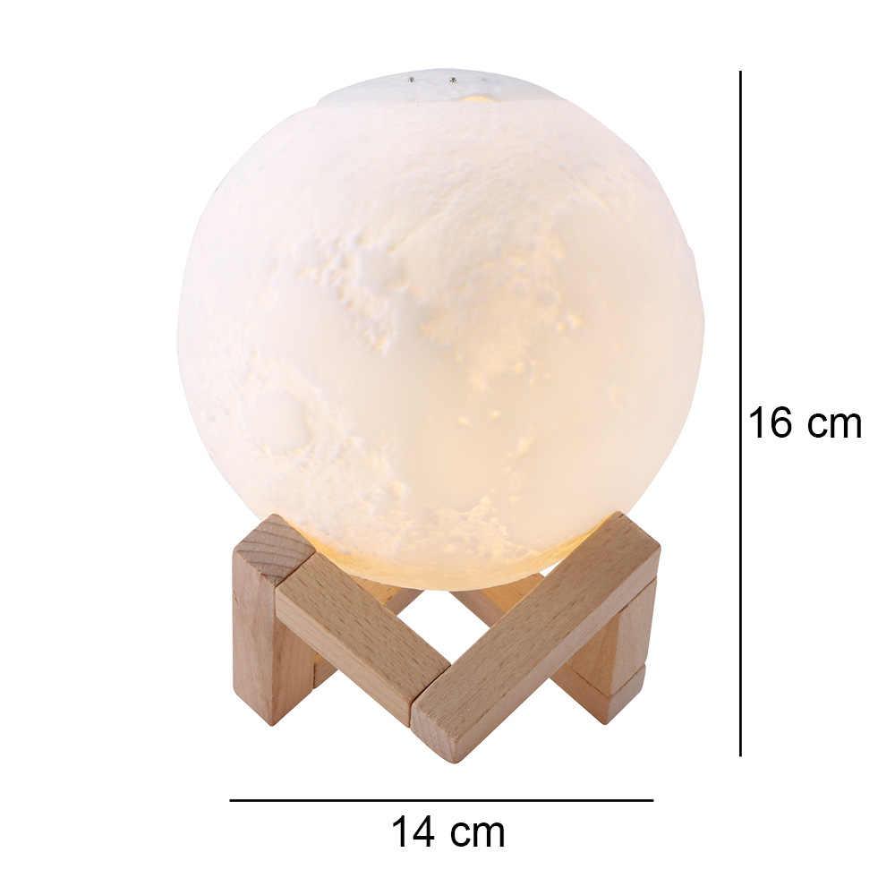 Перезаряжаемые 3D печать Луны лампа увлажнитель цвет изменить сенсорный выключатель спальня книжный шкаф ночник дома креативный подарок