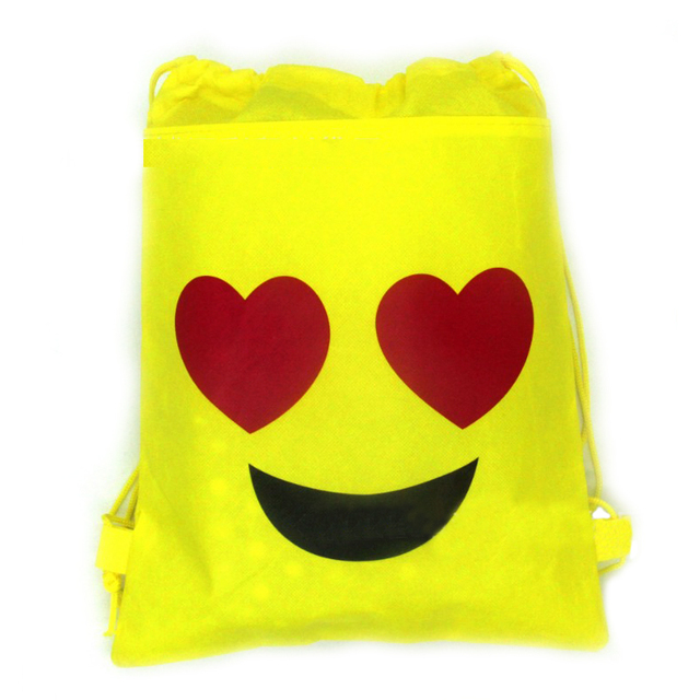 1PCS Emoji Creative Backpack Happy Birthday Party Decora Non Woven Fabric Drawstring Gifts Bags Baby Shower Kids Favors Mochila