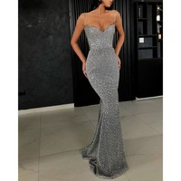 Try Everything Women Sexy Party Dress Summer 2019 New Mermaid Sequin Dress Ladies Shiny Silver Long Dresses Black Glitter Dress