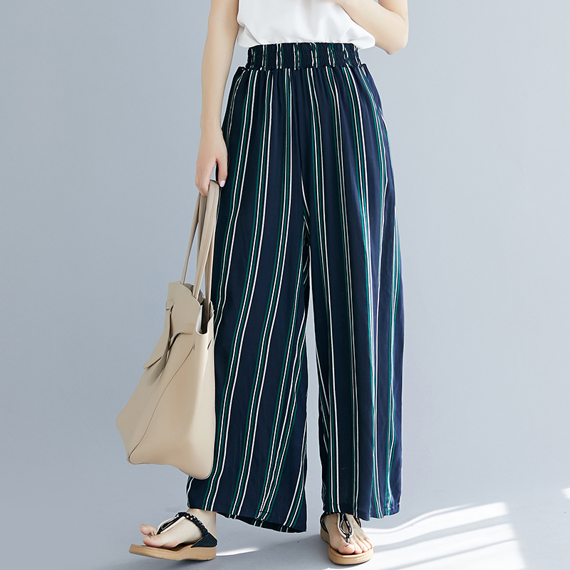 Lady Summer Trousers Elastic Waist   Pant   Women Blue Stripe Cotton and Linen   Wide     Leg     Pants   Pockets Oversized Clothes