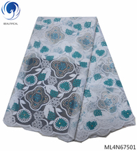 Beautifical nigerian lace fabrics french fabric guangzhou with stones net for evening dresses ML4N675