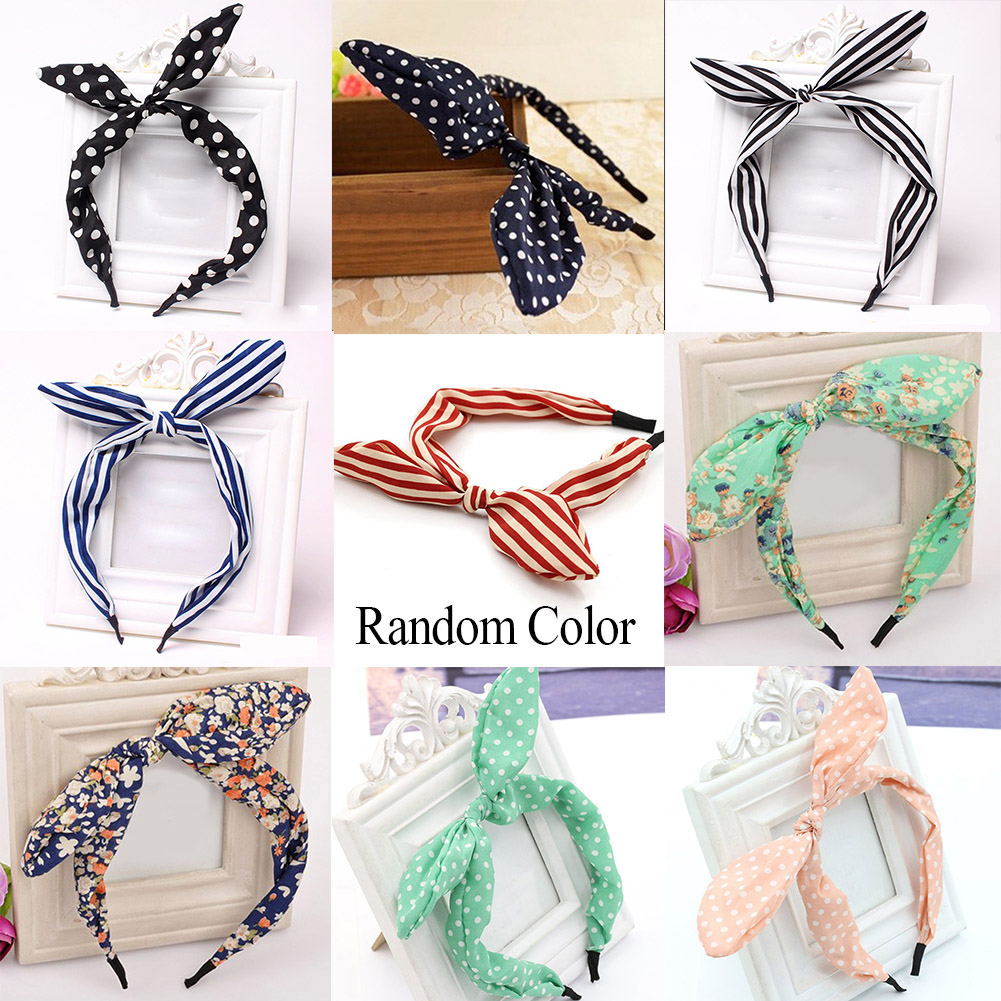 Korean Cute Sweet Big Ribbon Bow Rabbit Ear Headbands Fabric Dot Striped Elastic Hair Bands Hair Accessories For Girls Headwear