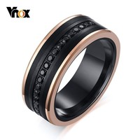 Vnox Textured Tungsten Carbide Wedding Bands Rings for Men 8MM Matte Finish with AAA Cubic Zirconia Inlayed anel masculino