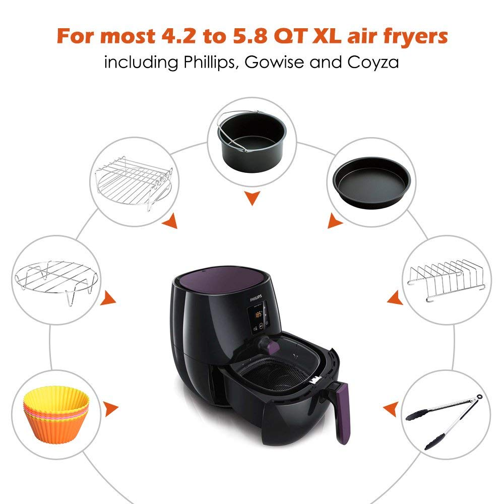 New Hot Air Fryer Accessories 8 Inch For 5.8 Qt XL Air Fryer, 9 Pieces For Gowise Phillips And Cozyna Air Fryer, Fit 4.2 Qt To