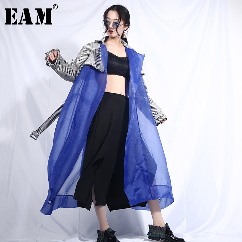 [EAM] 2019 New Spring Lapel Long Sleeve Plaid Printed Hem Blue Organza Stitch Perspective Windbreaker Women   Trench   Fashion JL54