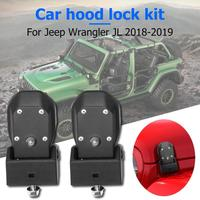 Hood Catch Set for Wrangler JL 2018 2019 Engine Cover Latch Lock with Keys Premium ABS Durable Rust proof Latch Lock Black