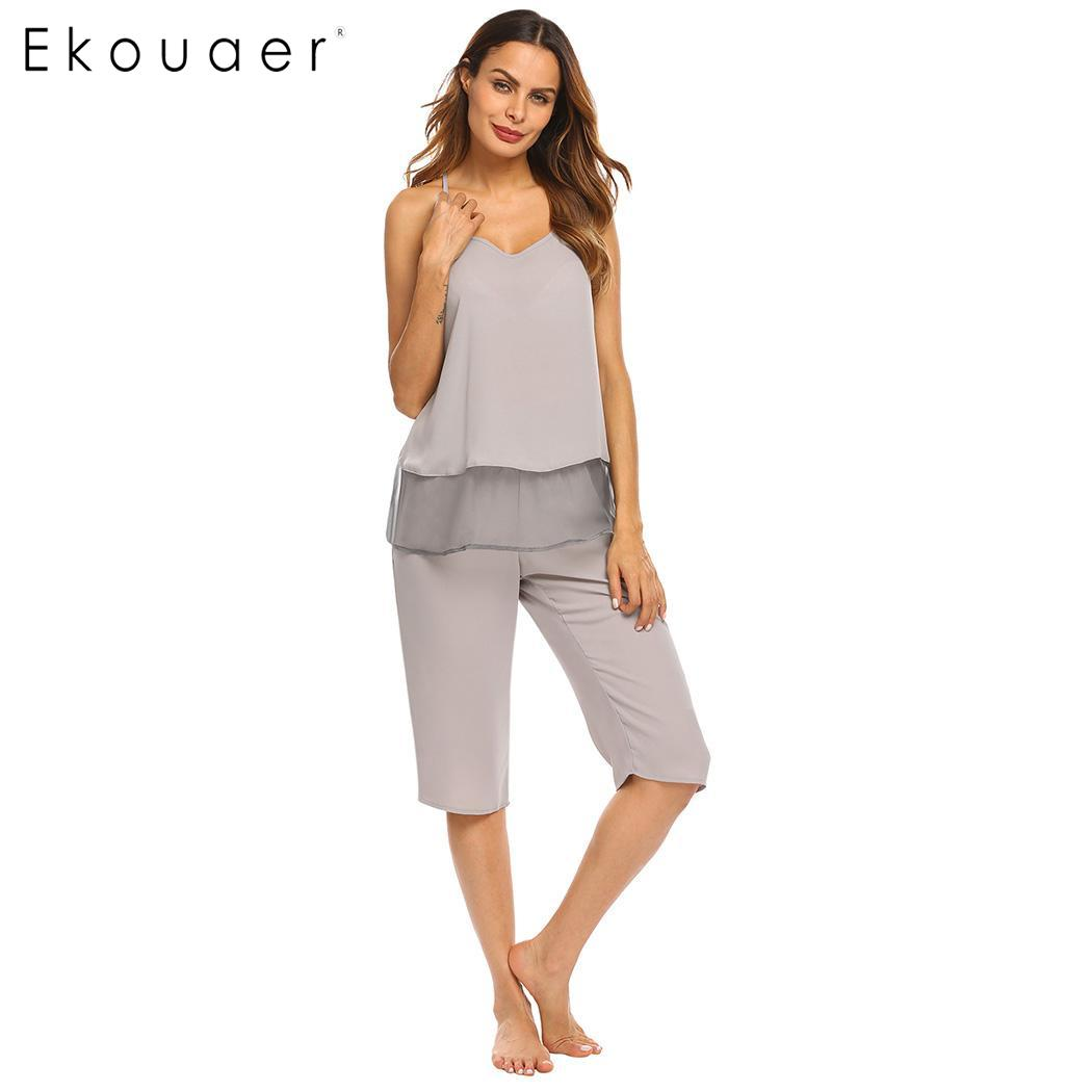 Ekouaer Sleepwear   Pajama     Sets   Women Home Cothes Mesh Spaghetti Strap Camisole Tops And Pants Female Two Pieces Nightwear