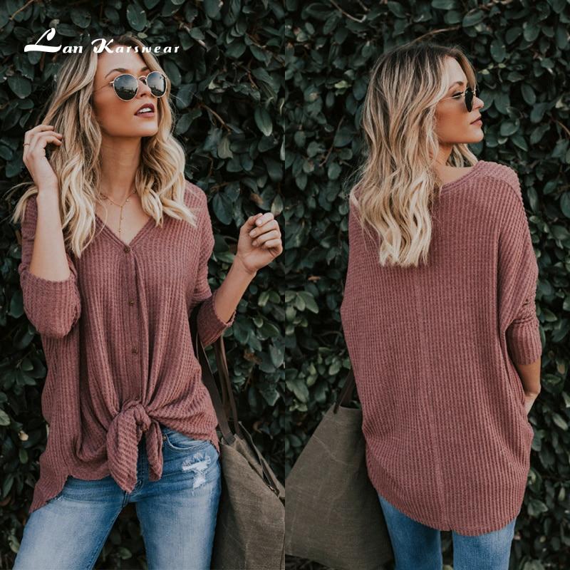 Lan Karswear t shirt winter T-shirts for woman sweatshirt fashion womens Tshirt Open V-neck Casual sexy knitting top S-XXL Size