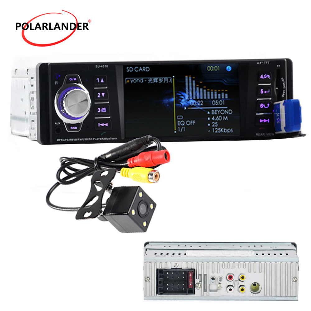 With Camera 1 Din Car Radio Stereo MP4 Bluetooth Remote Control AUX USB TFT SD MMC AM FM EQ Rearview Parking 5 Languages image