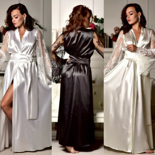 New Womens Sexy Silk Yarn Embroidered Long Sleeves And Nightgown Nightdress