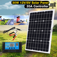 Hot Selling 30W 12V/5V DC Solar Panel Sunpower Battery USB For Phone Light Car Charger Waterproof Home Solar System
