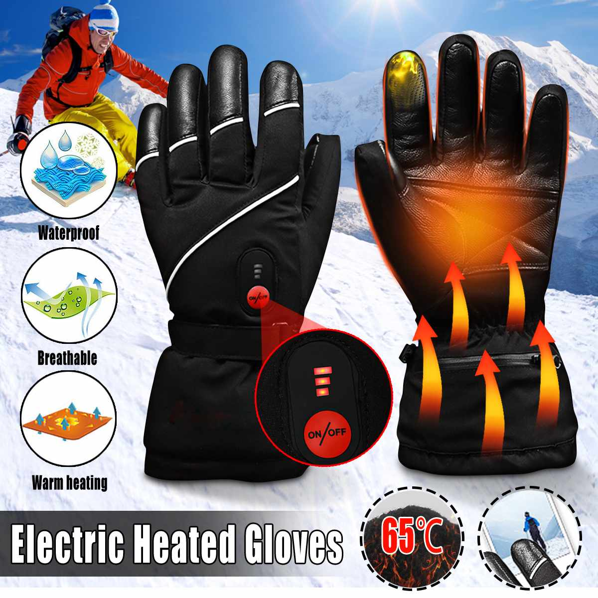 1 Pair Outdoor Indoor Electric Heated Gloves 2200MAH Li-ion Battery Thermal Warm Cycling Skiing Hiking Waterproof Winter Warmer1 Pair Outdoor Indoor Electric Heated Gloves 2200MAH Li-ion Battery Thermal Warm Cycling Skiing Hiking Waterproof Winter Warmer