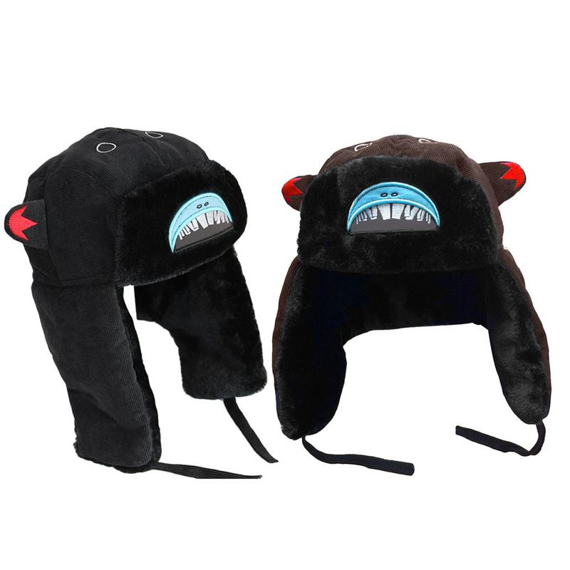 Cotton Big Mouth Warm Winter Hat Shark Pattern Thick Earmuffs Ski Ear Flaps Cap Funny Outdoor Riding Fashion Hat For Men Women