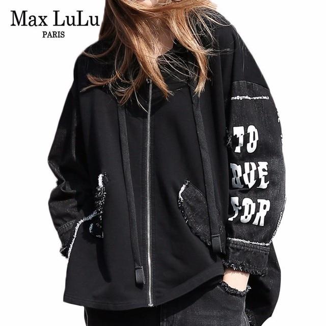 9ccd9b4b321b Max LuLu Весна 2019 мода Корейский дамы панк ветровка женская с капюшоном  джинсовая ...