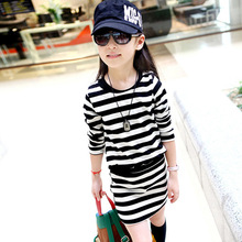 Girls dress striped cotton fake two spring and autumn sports new long-sleeved childrens clothing