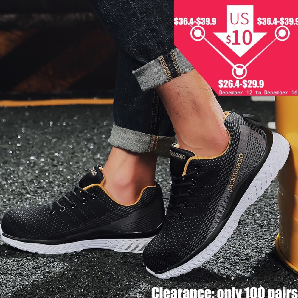 Hot brand Men European standard Steel Toe Work Safety shoes Lightweight sneakers four season Breathable Non slip Casual Shoes in Work Safety Boots from Shoes