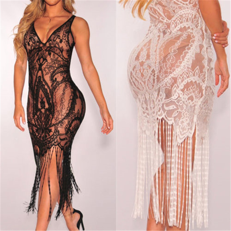 >2019 Hot Brand <font><b>Women</b></font> Bandage Bodycon Hollow out <font><b>Lace</b></font> Crochet Bathing Suit Bikini Swimwear Cover <font><b>Up</b></font> Beach Dress Soft Sundress