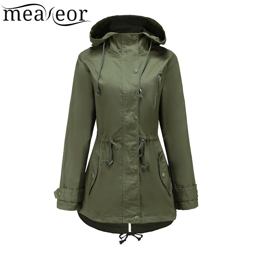 Meaneor Casual Women Hooded Jackets Drawstring Zip Coat with Side Pocket Autumn Windbreaker Solid Spring Overcoat Autumn Jackets