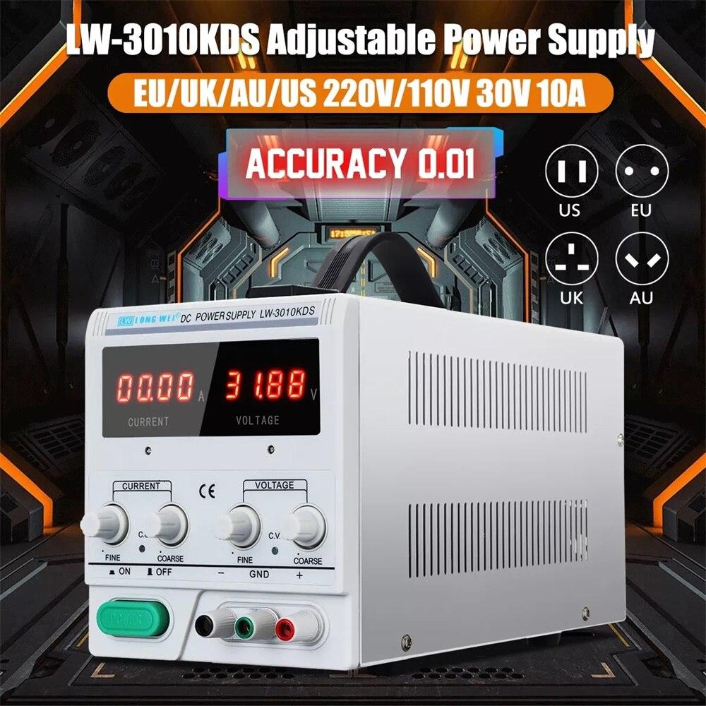 LONG WEI LW 3010KDS 110V 220V 0 30V 0 10A Switching Regulated Power Supply Adjustable LED
