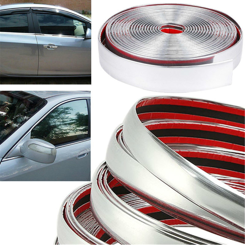 Color:silver 4m Long Universal DIY Chrome Moulding Trim Strip Car Door Edges Scratching Protecting Cover Sticker Accessories