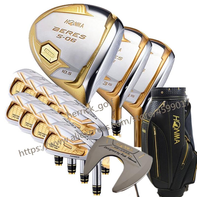 Nouveau club De Golf HONMA S-06 4 étoiles clubs De Golf complets Pilote + fairway bois + fers + putter graphite arbre couverture sac