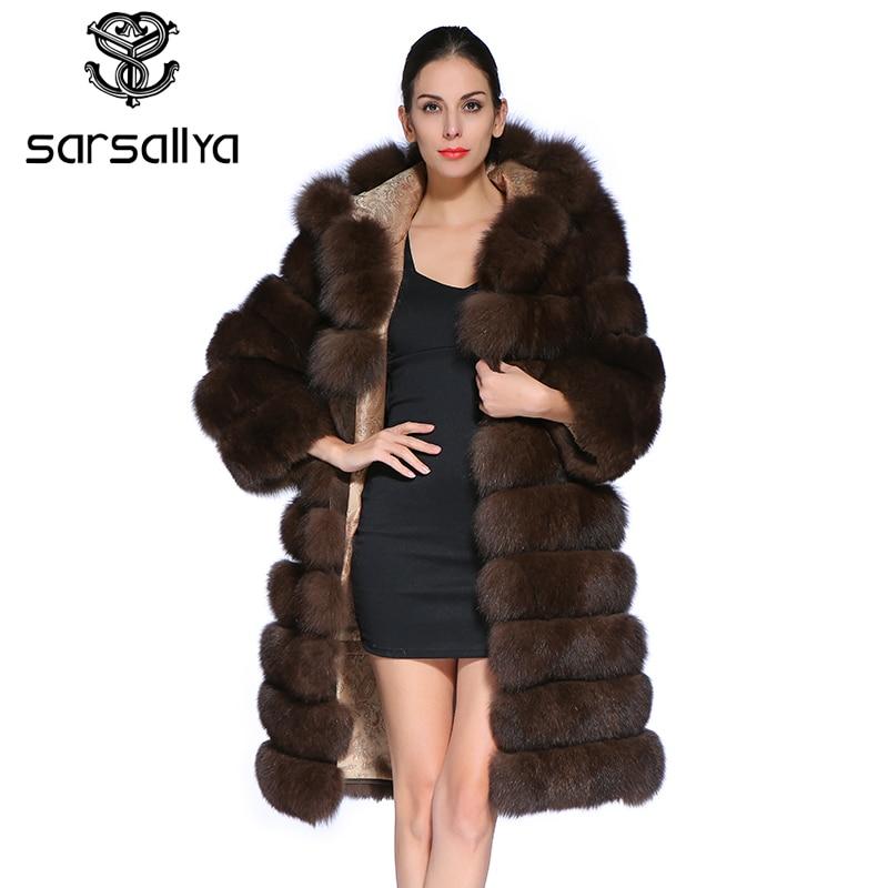SARSALLYA Nouvelle Mode Amovible Manches Manteau Réel Normal Véritable Fourrure de Renard Bleu Long Manteaux Veste pour Femmes Hiver Gilet Gilet