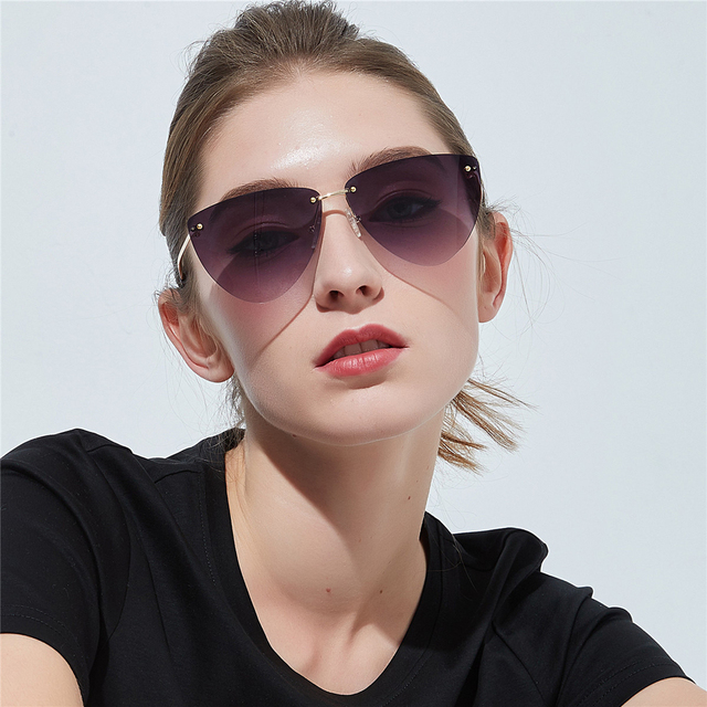 3c92dcc5f25ba Kachawoo Fashion Cat Eye Sunglasses Women Accessories Triangle Pink Black  Rimless Sun Glasses Female Birthday Gift