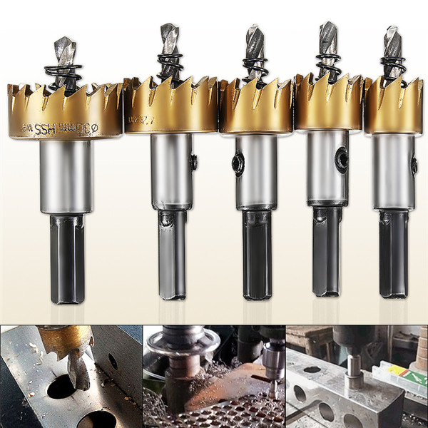 5Pcs HSS Drill Bits Hole Saw Kit 5 Spanners 16/18.5/20/25/30mm Metal Alloy 16-30mm Stainless Steel Drill Bit Hole Saw
