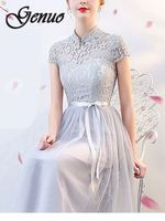 2019 Fashion Slim Wedding Long Party Dresses Elegant Bridesmaids Chiffon Lace Dress Women Summer Ball Gown Dress Female vestidos