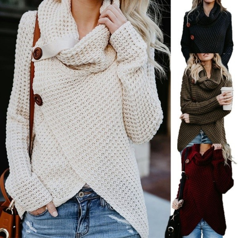 Autumn Winter Womens Fashion Knit Sweater Buttons Loose Cardigan Coat Ladies Warm High Collar Irregular Sweater 4 Colors