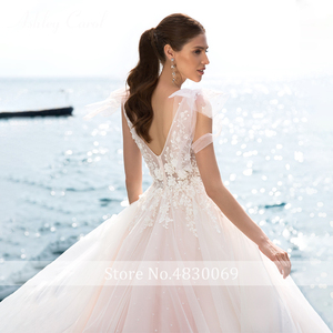 Image 3 - Ashley Carol A Line Wedding Dress 2020 Romantic Pearls Tulle Princess Bride Backless V Neck Appliques Beach Boho Bridal Gown