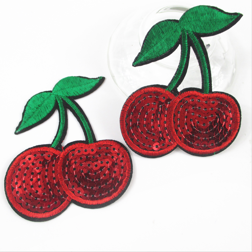David Accessories Fruits Cherry Cake Sequins Embroidery Patch Diy Clothing Applique Blossom Diy Accessory Sewing Supplie,20yc525 Apparel Sewing & Fabric