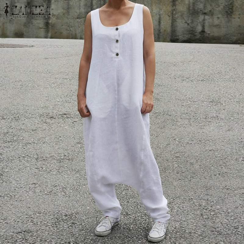 S 5XL ZANZEA Summer Vintage Jumpsuits 2019 Women Casual Sleeveless Long Harem Overalls Solid Drop Crotch Rompers Dungarees Femme