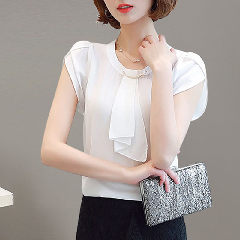fashion women 39 s short sleeved chiffon blouse tops summer korean elegant ladies casual beading shirt plus size women clothes in Blouses amp Shirts from Women 39 s Clothing