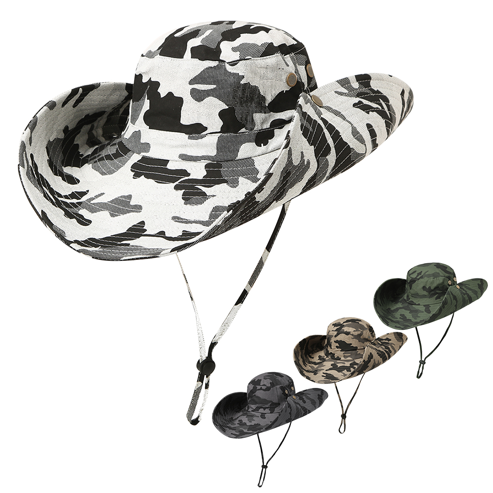 3879d9bef US $9.66 50% OFF|Outdoor Camouflage Boonie Hat Wide Brim Breathable Hunting  Fishing Sun Hat Sport Hiking Visor Hat UV Protection Face Neck Cover-in ...