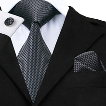 Hi-Tie New Clasic Grey Tie for Men Silk Fabric Jacquard Wove