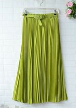 Summer Skirts Casual Women Soid Elegant Long Retro Maxi Chiffon High Waist Pleated